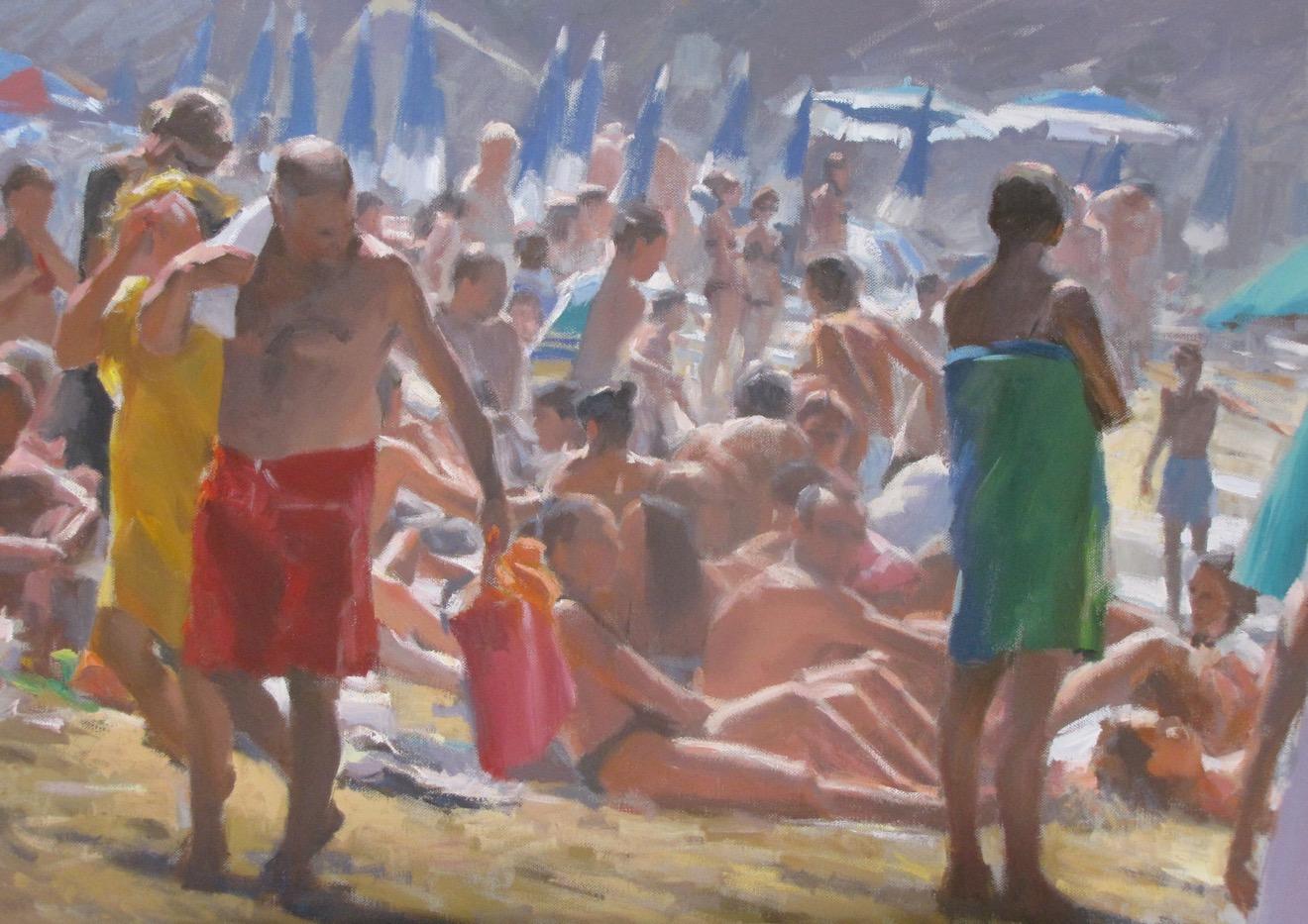 01358 Bagnanti, di Andrea Mancini. Olio su tela, cm 50x70