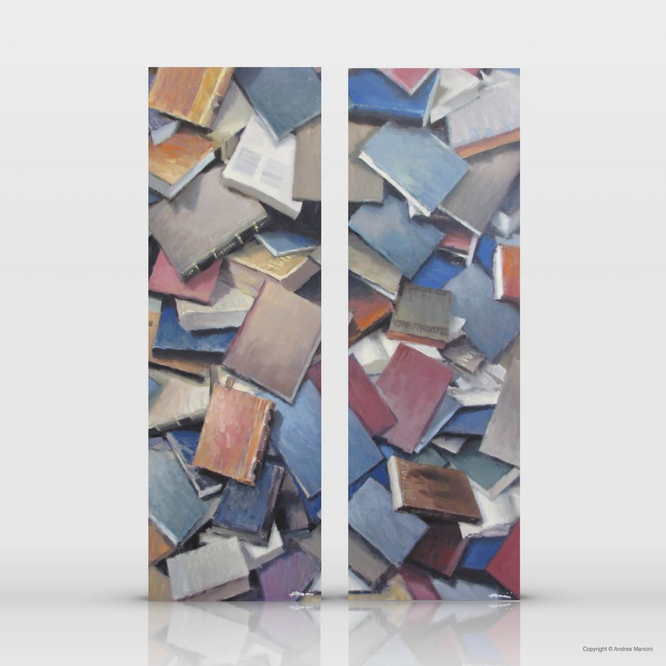 01363 01364 Dittico dei libri, 2011, olio su tela cm 120x80