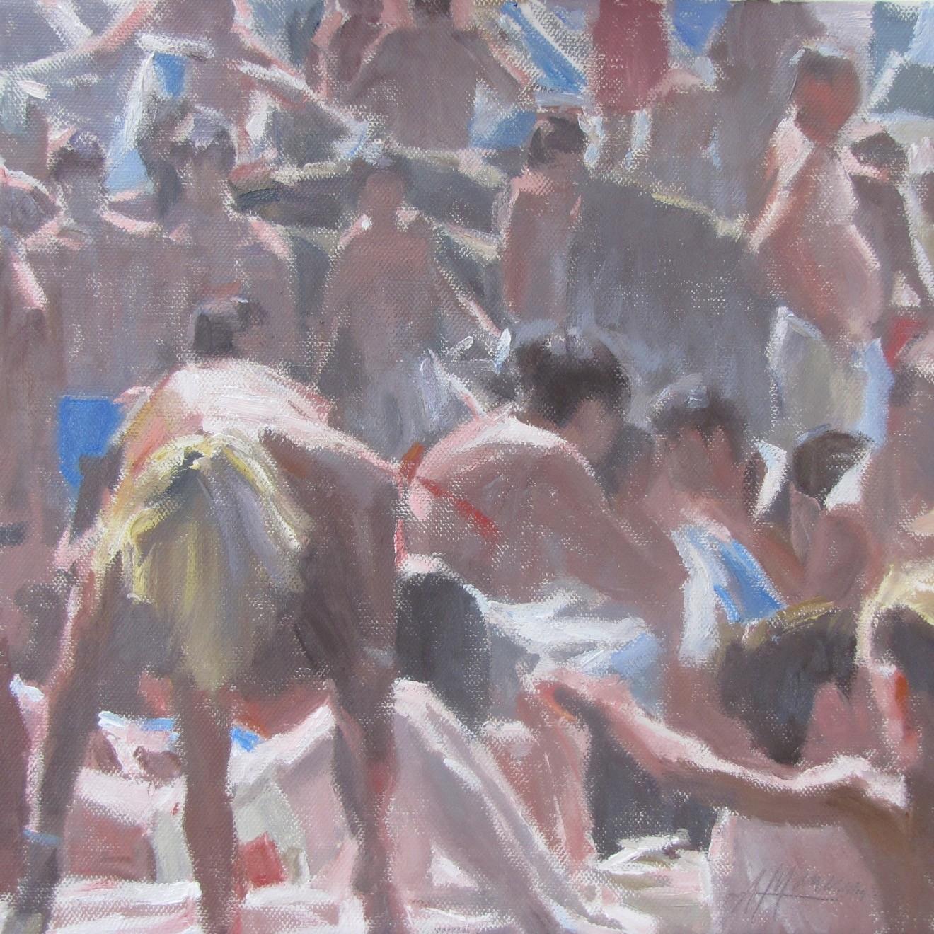 01468 Bagnanti, di Andrea Mancini. Olio su tela, cm 40x40
