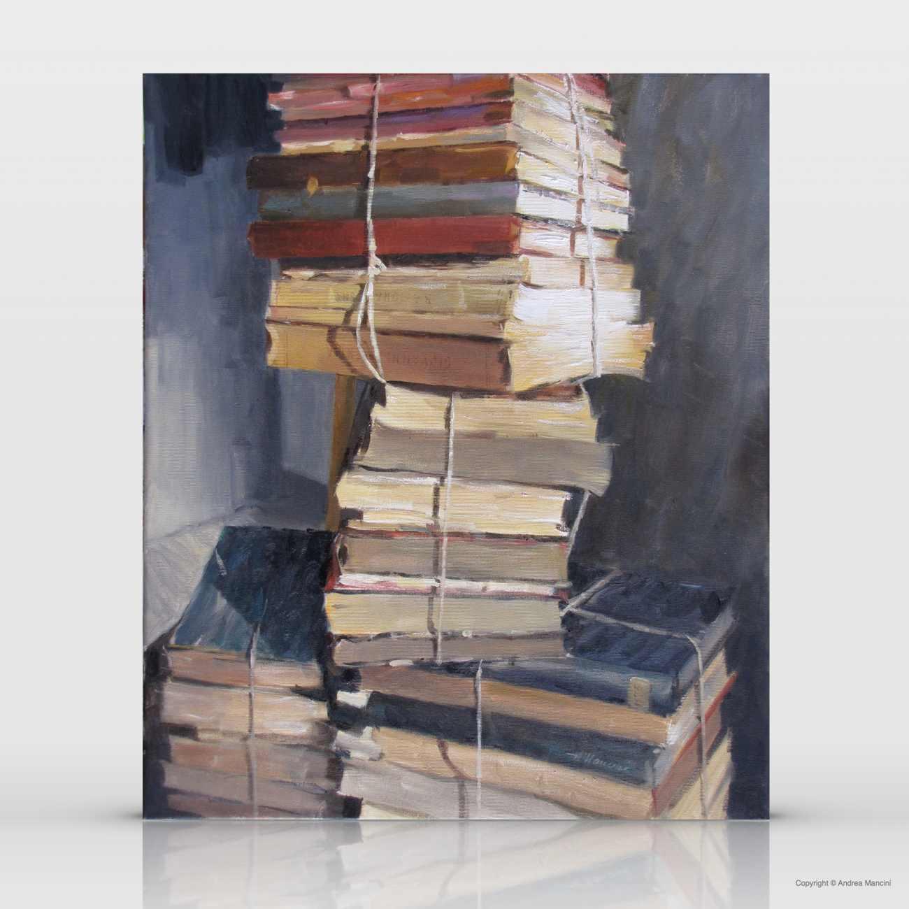 1175 Libri a pacchetti, 2010, olio, cm 50x60
