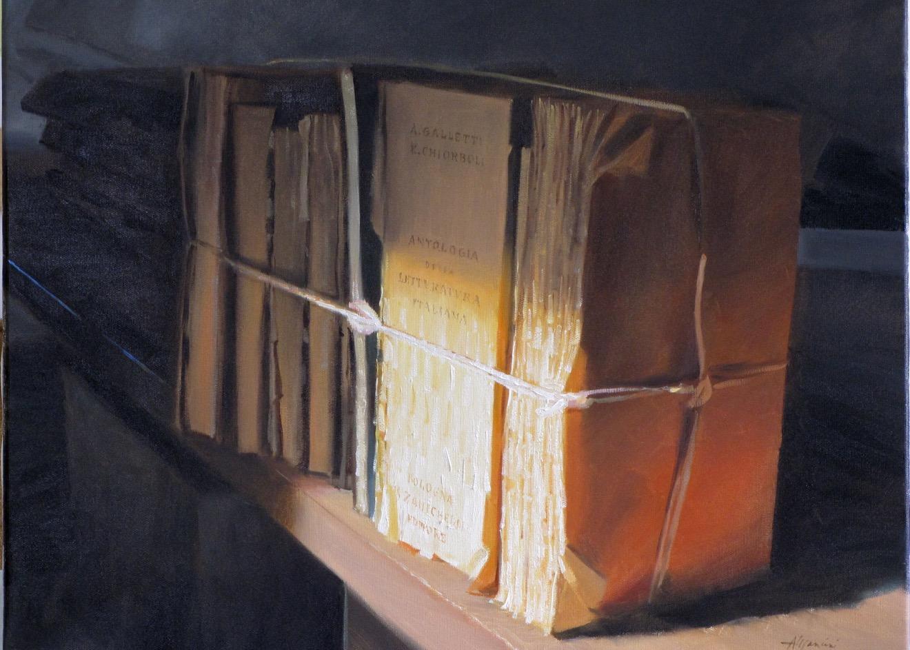 1192, Libri al tramonto, 2010, olio, cm 60x50