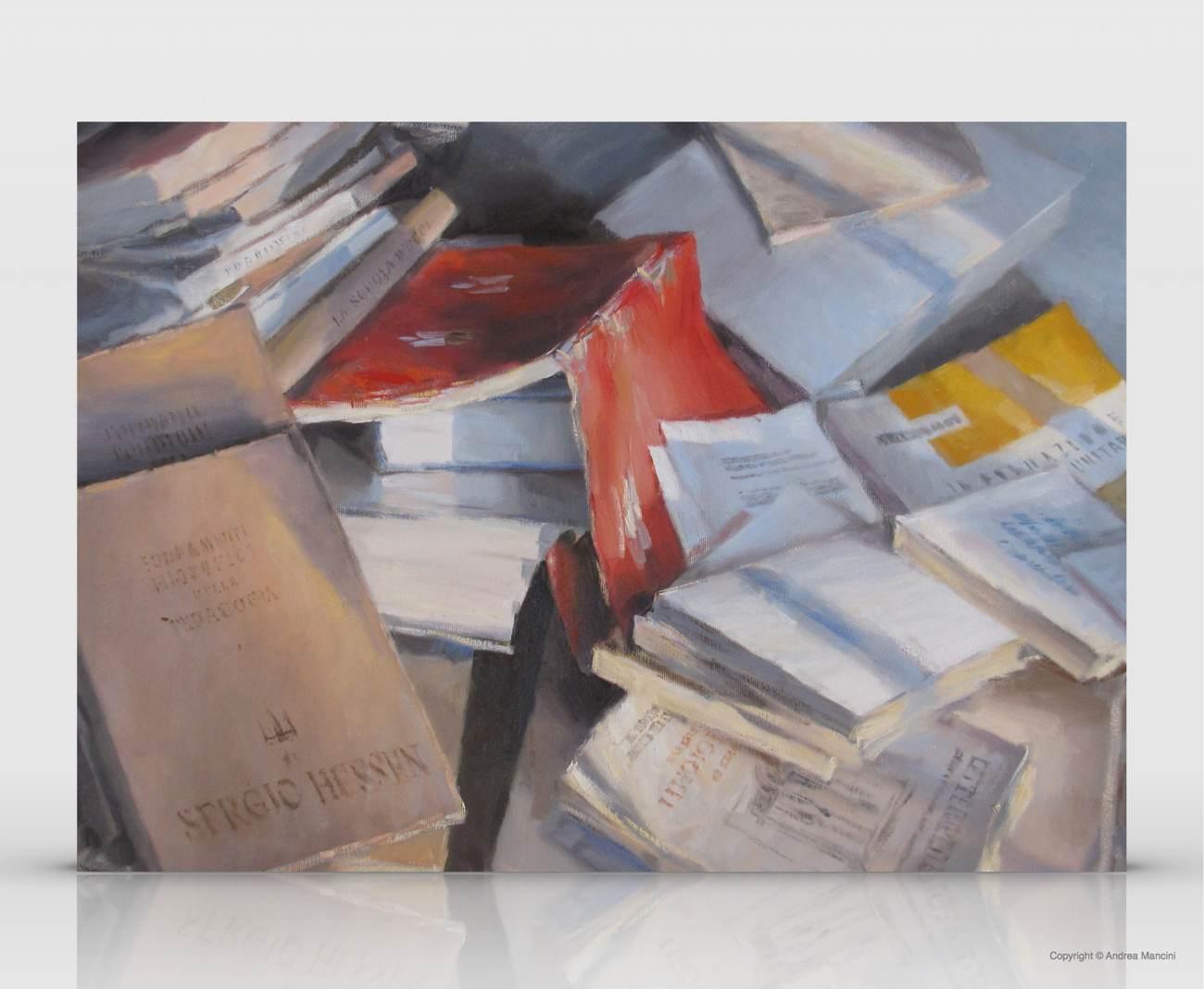 1339, Libri sparsi, 2011, olio su tela 50x60