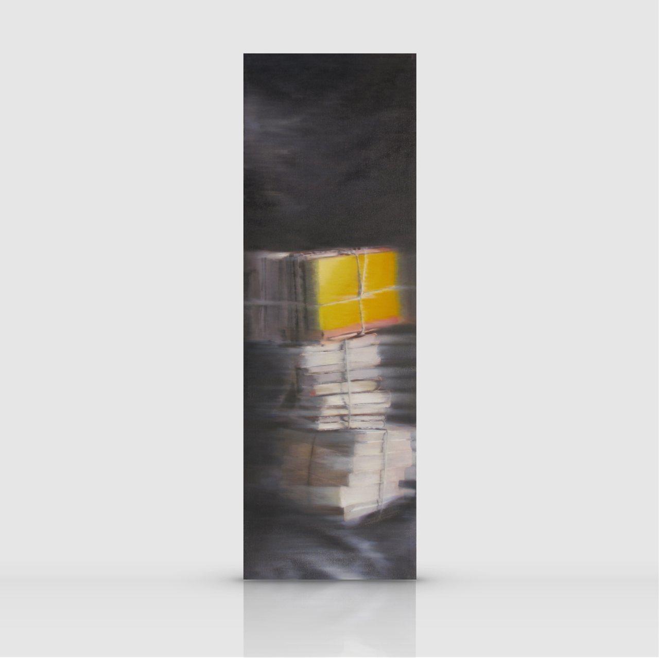 1377-Libri-olio-su-tela-80x30-cm
