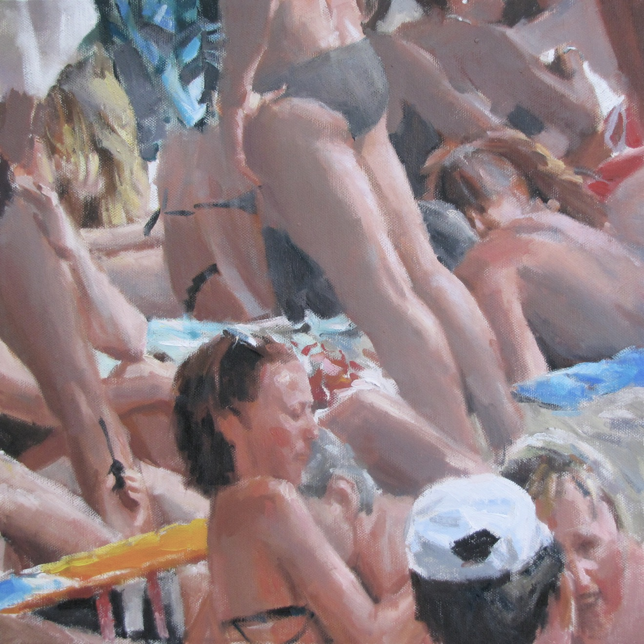 Bagnanti, di Andrea Mancini. Olio su tela, cm 40x40