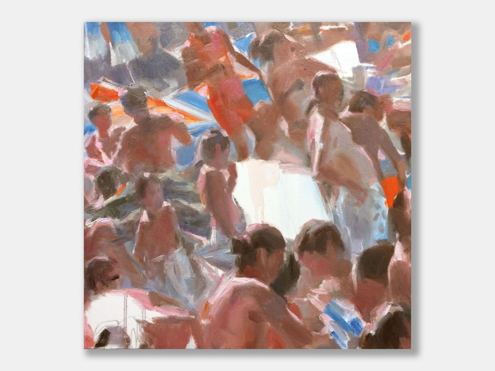 Andrea Mancini bagnanti 01620 Parlare col corpo 2014 olio 50x50