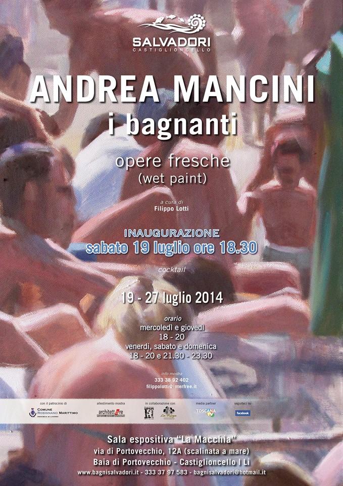 Andrea Mancini Opere fresche bagnanti mostra Castiglioncello locandina