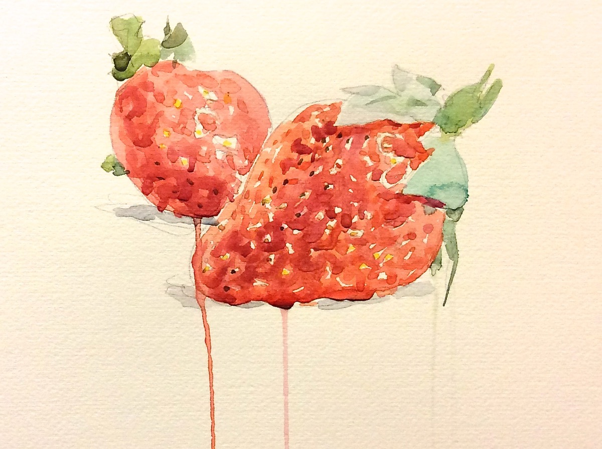 Andrea Mancini Fragole 2014 watercolor 35x50