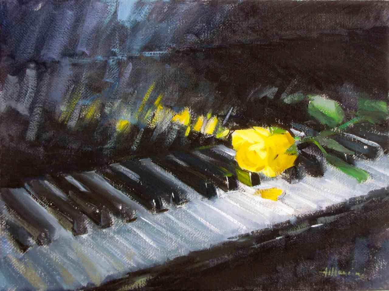 La rosa gialla, , 2010, olio su tela, cm.40x30