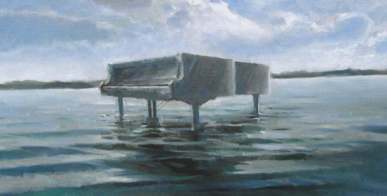 Piano sull'acqua, 2010, olio, cm 100x40