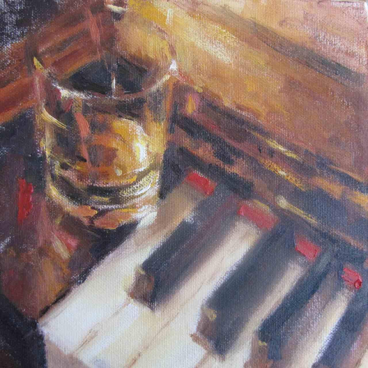 Pianoforte di Ernest Hemingway, 2011, olio su tela, cm 20x20