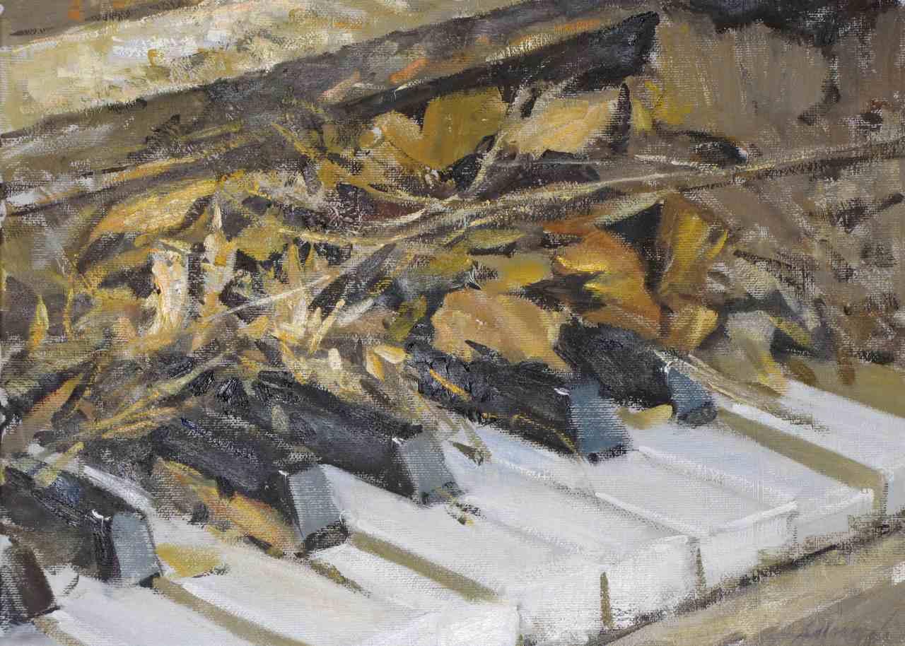 Pianoforte in disuso, 2010, olio, cm 40x30