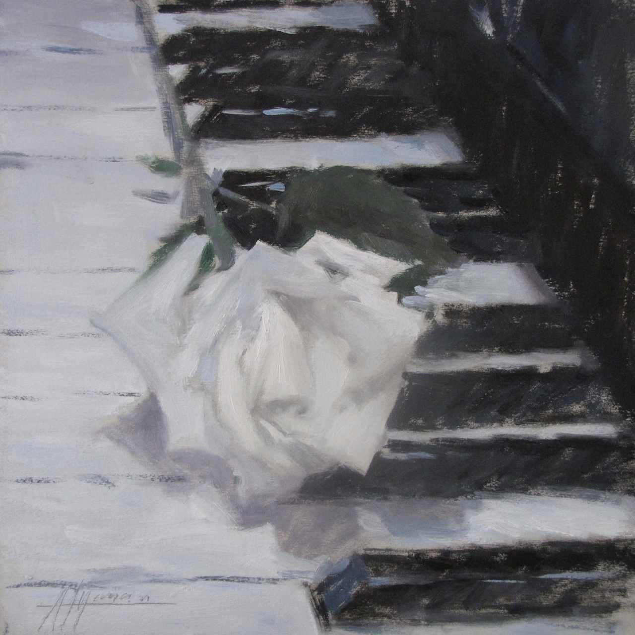 Rosa bianca, Andrea Mancini 2011 - olio su tavola, 25x25 cm