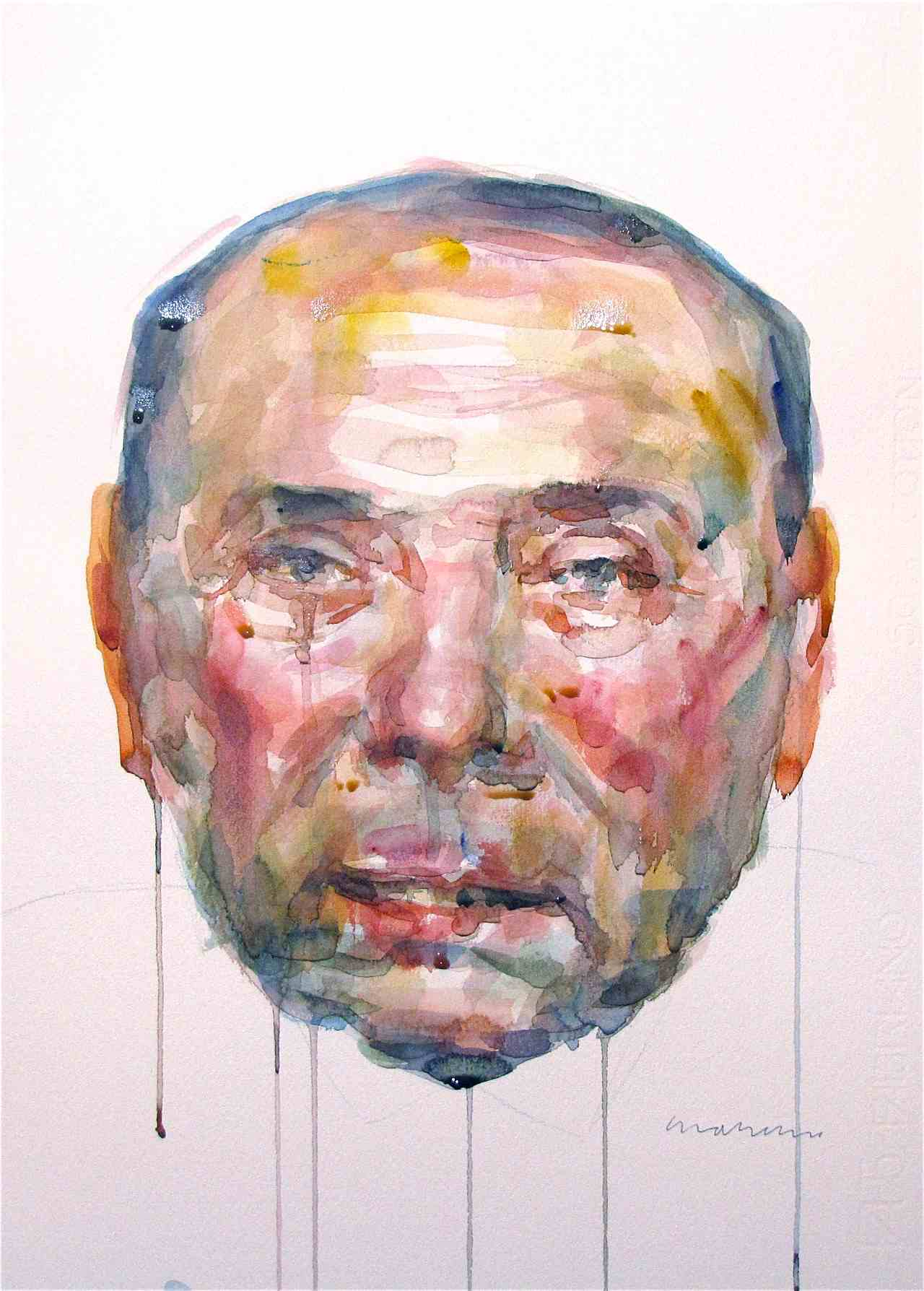 port Berlusconi portrait watercolor