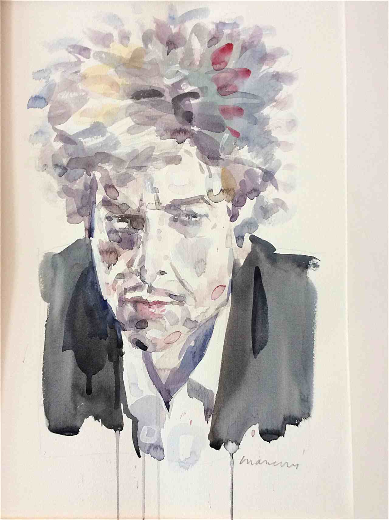 port Bob Dylan portrait watercolor
