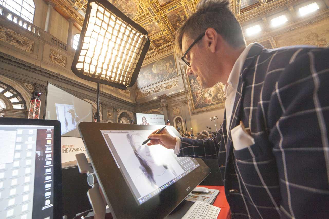 180 ritratti live in Palazzo Vecchio, uno al minuto x tre ore.